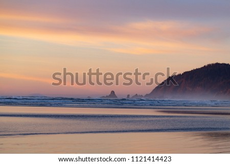 stock-photo-pacific-beach-at-sunset-with