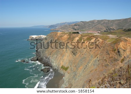 Pacific coast cliffs from Point Bonita, Marin Headlands, California