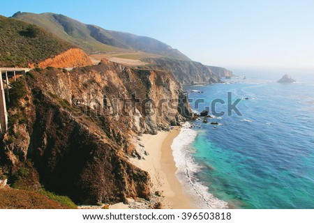 Pacific Coast Highway at Southern California - stock photo