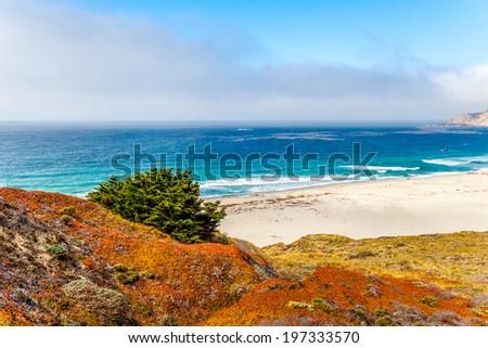 Pacific coastline along California State Route 1 - stock photo
