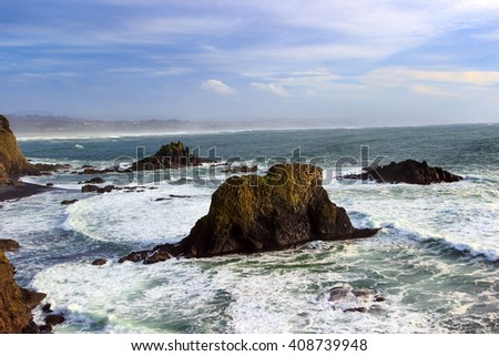Pacific Coastline view from the Yaquina Outstanding Natural Area, Newport, Oregon - stock photo
