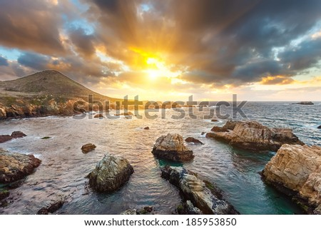 Pacific Ocean coast, California, USA - stock photo