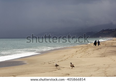 Pacific ocean during a storm. Beach landscape in the U.S. in bad weather.  - stock photo