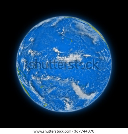 Pacific Ocean on blue planet Earth isolated on black background. Highly detailed planet surface. Elements of this image furnished by NASA.