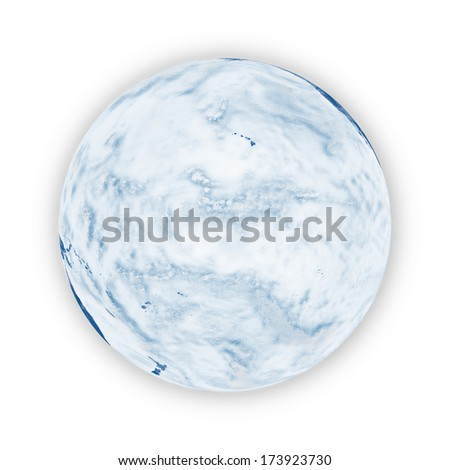 Pacific Ocean on blue planet Earth isolated on white background. Elements of this image furnished by NASA. - stock photo