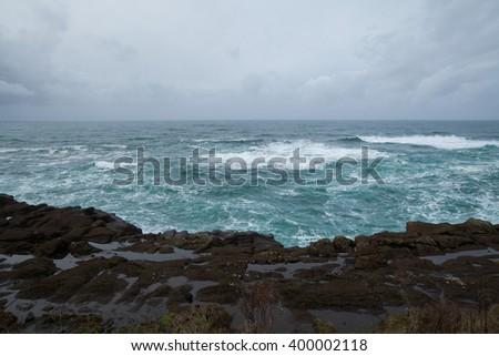 Pacific Ocean Oregon coast on an overcast day/Pacific Ocean - stock photo