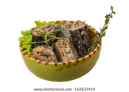 pacific saury with salad and pacific saury with salad and