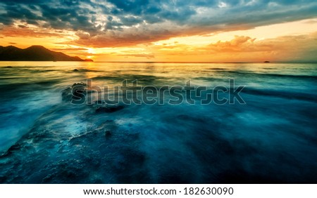 Pacific Sunset. Guanacaste beach, Costa Rica. Travel concept - stock photo