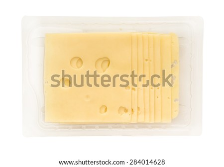 pack of a cheese slices isolated on white background - stock photo