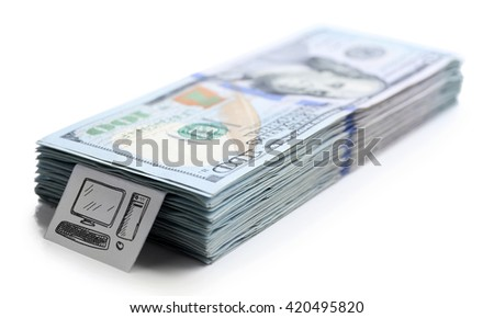 Pack of American dollars, isolated on white. Saving concept - stock photo