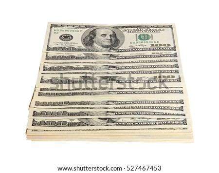 Pack of American money on the white background