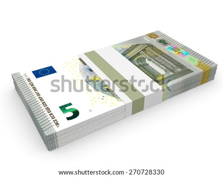 Pack of banknotes. Five euros. 3D illustration. - stock photo