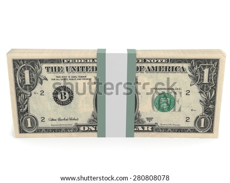 Pack of banknotes. One dollar. 3D illustration.