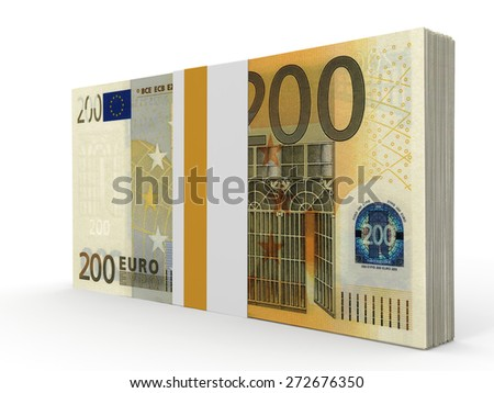 Pack of banknotes. Two hundred euros. 3D illustration. - stock photo