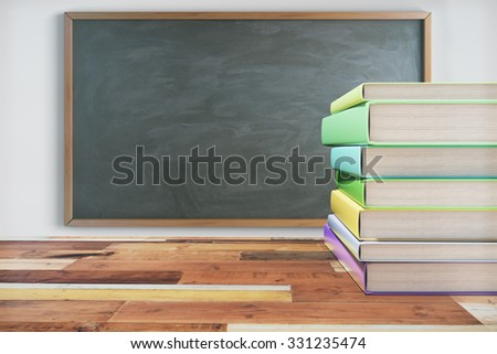 Pack of books on the wooden school desk with blackboard on white wall 3D Render