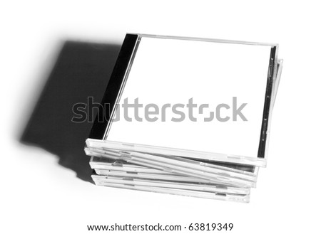 Pack of boxes from disks isolated on white background - stock photo