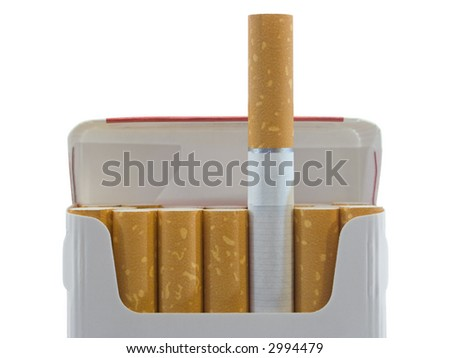 Pack of cigarettes, close-up, isolated on white background