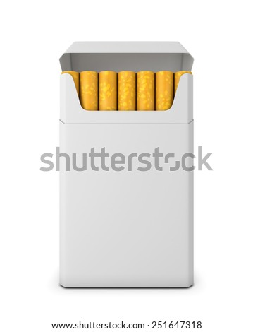 Pack of cigarettes opened on white background. Pack of cigarettes front view. 3d render image. - stock photo
