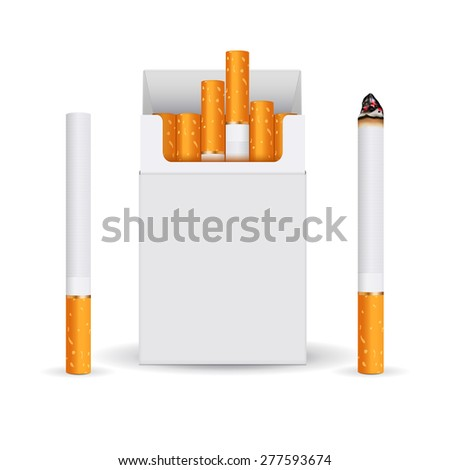 Pack of cigarettes, white blank box and cigarette. isolated on white background. Raster version