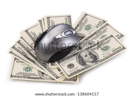 pack of dollars and computer mouse isolated on a white background