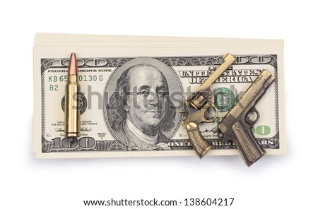 pack of dollars and weapon isolated on a white background