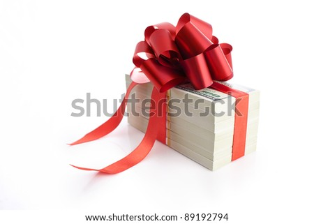 Pack of 100 dollars as a gift isolated on white background