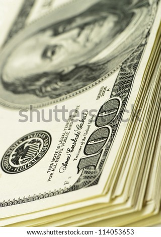 pack of dollars.Highly detailed picture of American money