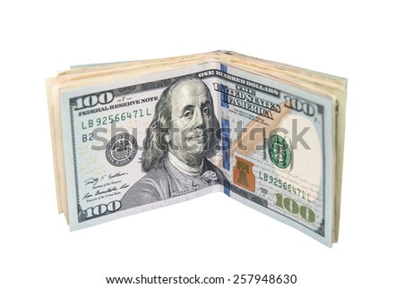 pack of dollars isolated on white - stock photo