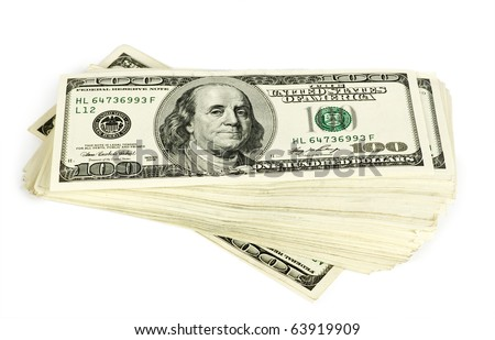 Pack of dollars isolated  on white background - stock photo