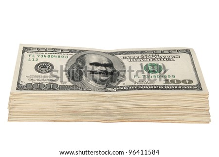 Pack of dollars. On hundred dollar denomination. Eyes and a mouth of the president are closed by an adhesive tape.