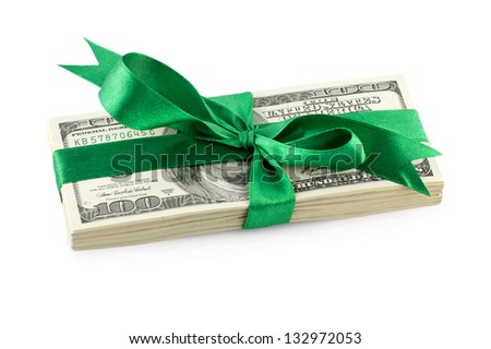 Pack of dollars tied with green ribbon isolated on white background