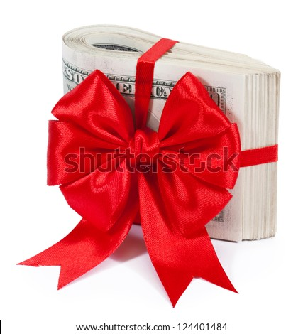 Pack of dollars tied with ribbon isolated on white background - stock photo
