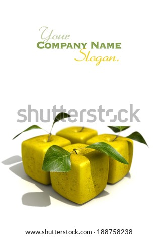 Pack of four cubic apples - stock photo
