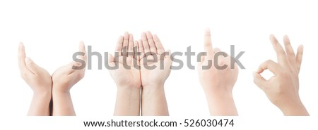 pack of hand sign many meaning, on isolate background