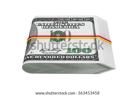 Pack of Hundred Dollars on a white background - stock photo