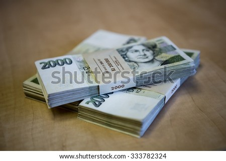 pack of money - big pile of banknotes, czech crown - stock photo