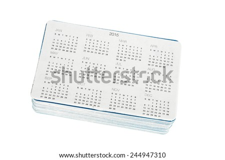 Pack of new pocket calendars to year 2015 isolated on white background - stock photo