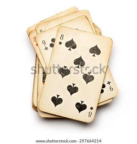 Pack of old playing cards in closeup - stock photo