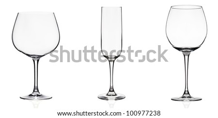 Pack of 3 pics of wine glasses isolated on white. - stock photo