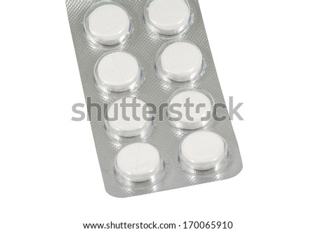 Pack of pills isolated on white