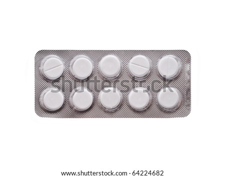 pack of pills isolated one white background