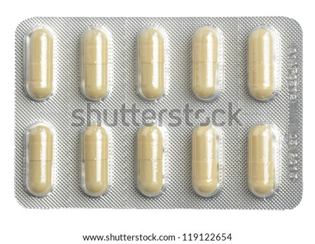 pack of pills on white background - stock photo