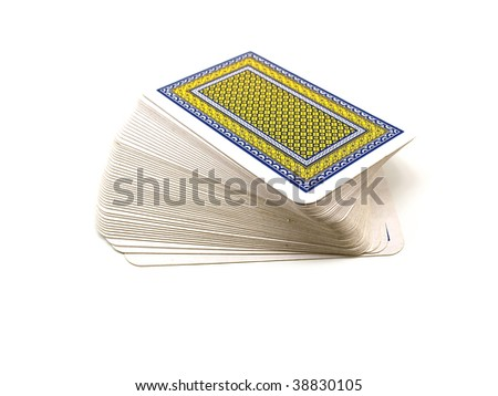 Pack of playing cards with a dark blue and yellow shirt isolated on a white background - stock photo