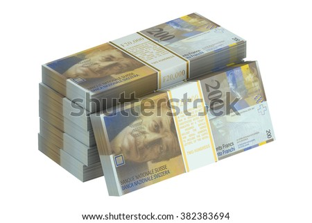 pack of swiss franc isolated on white background - stock photo
