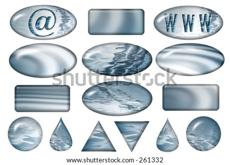 Pack of various buttons for aqua set . Find more in my gallery ! - stock photo