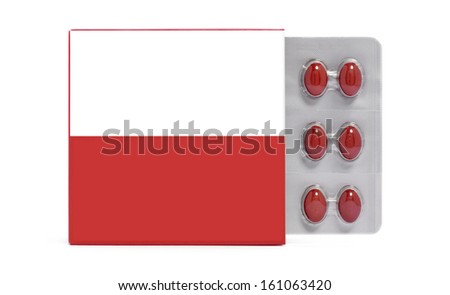 Pack with pills blister red and white colors copy space isolated on white background - stock photo