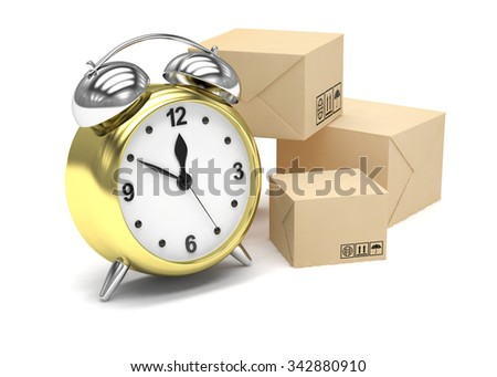 Package and alarm clock, delivery concept