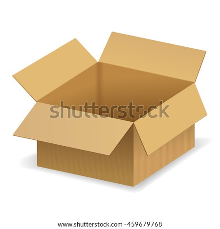 Package box. Open brown cardboard box. Illustration isolated on white background. Raster version