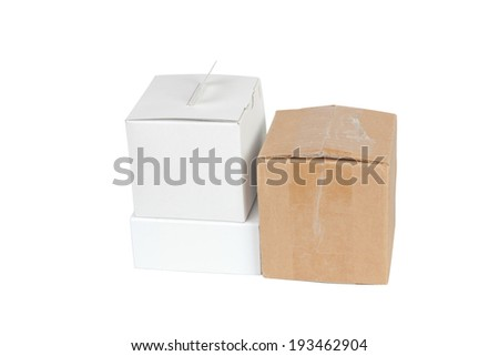 Package boxes isolated on white background - stock photo