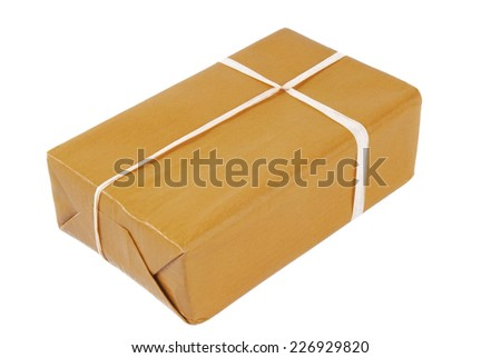 package brown isolated on white - stock photo